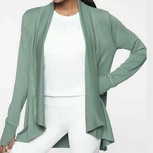 Great ATHLETA Pranayama wrap foam green sweater